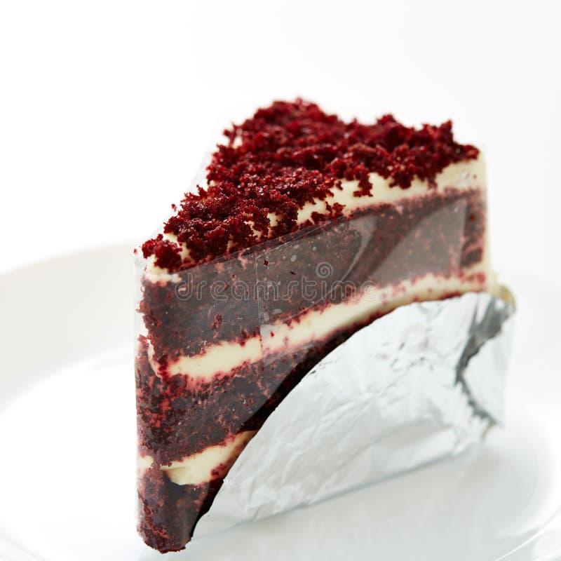 Pastel de queso rojo del terciopelo fotografía de archivo