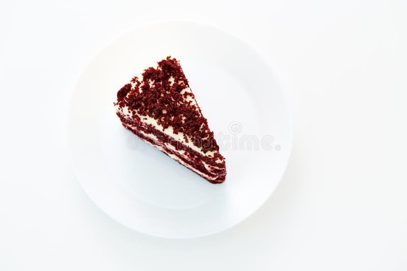 Pastel de queso rojo del terciopelo fotos de archivo