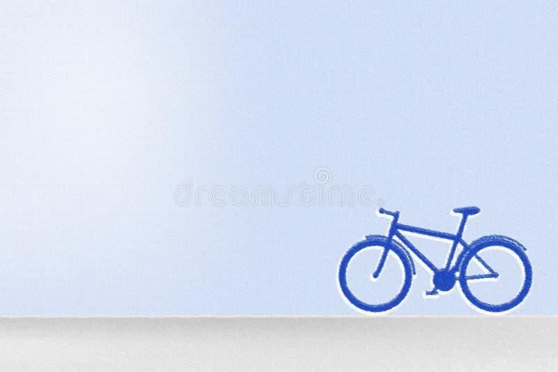 Pastel do desenho de uma bicicleta com fundo do céu azul fotografia de stock royalty free