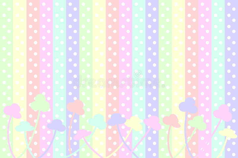 Pastel Dots and Flowers stock illustration