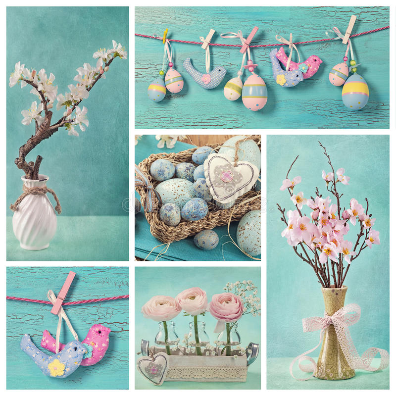 Pastel easter collage stock photo