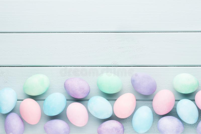 Pastel Easter eggs background. Spring greating card. Pastel Easter eggs background. Spring greating card stock photo