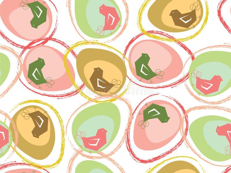 Pastel easter eggs and chicks. (vector) - seamless tile pattern stock illustration