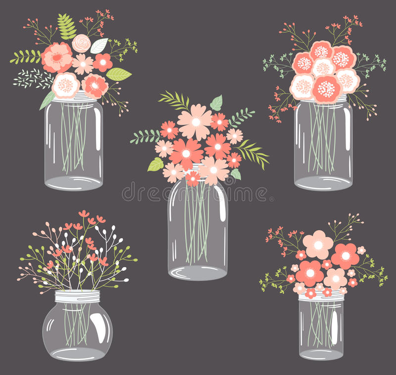 Free Pastel Flowers In Mason Jars Stock Photo - 45379240