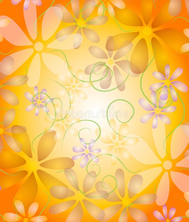 Pastel Flowers on Vine Gold vector illustration