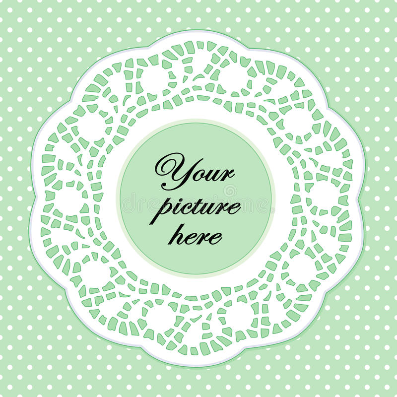 Lace Doily Frame, Pastel Green Polka Dot Background. Copy space to add your special photo or message. Vintage lace doily frame on pastel green polka dot stock illustration