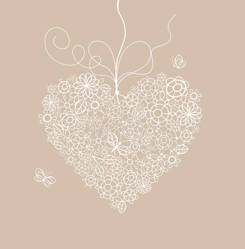Pastel greeting card with lacy heart. Shape vector illustration