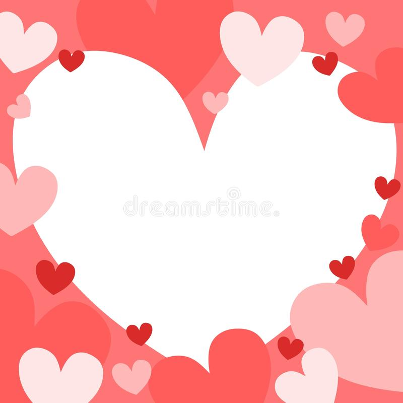Pastel Hearts Background 2. A background illustration featuring hearts in solid red and pink colors overlapping vector illustration