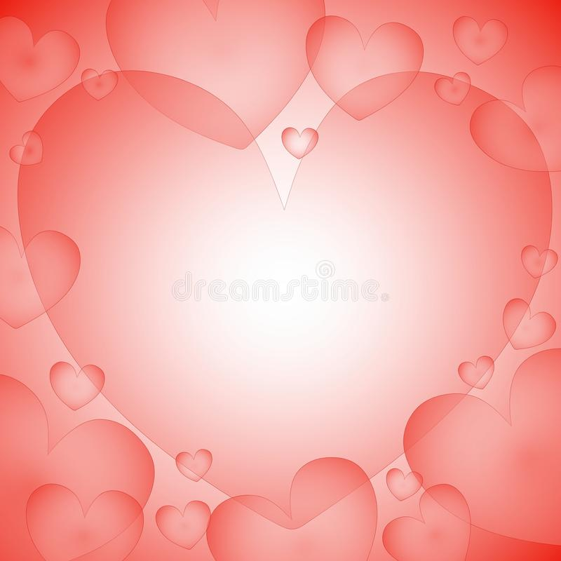 Pastel Hearts Background Frame. A background illustration featuring hearts in pastel pink overlapping royalty free illustration