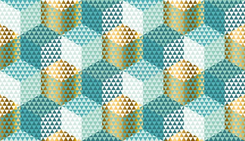 Pastel i złocisty geometryczny bezszwowy wzór royalty ilustracja