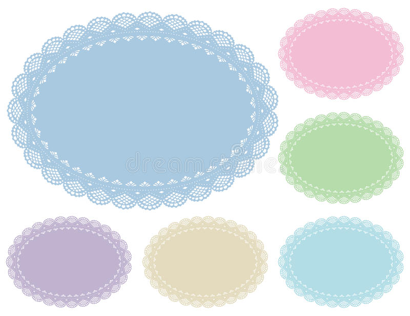 Pastel Lace Doily Place Mats. Old fashioned oval lace doily place mats in 6 pastel tints for setting table, cake decorating, celebrations, holidays, scrapbooks vector illustration