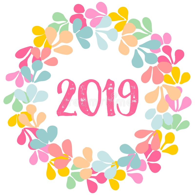 Pastel laurel vector wreath New Year 2019 frame isolated on white background vector illustration