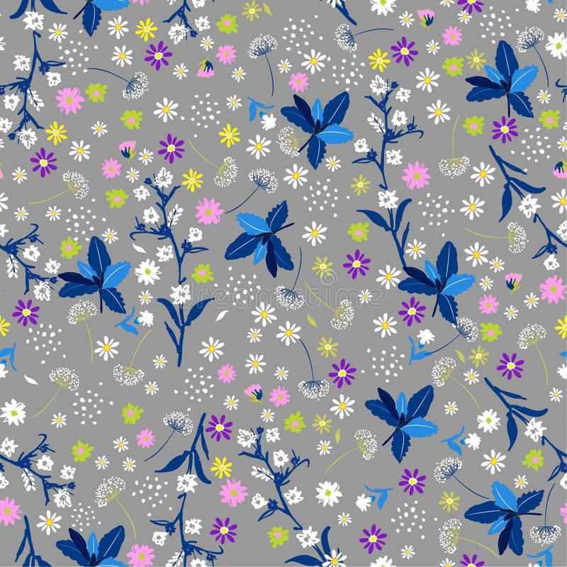 Pastel Liberty flower seamless pattern ,elegant gentle trendy i. N small-scale flower. Floral meadow background for textile, fabric, covers, manufacturing stock illustration