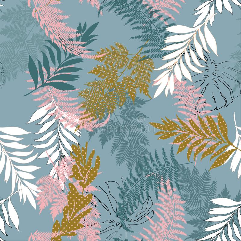 Pastel many kind of leaves fill in with polka dots pattern and s. Ilhouette line seamless vector suits for fashion,fabric and all prints on smoke blue background royalty free illustration