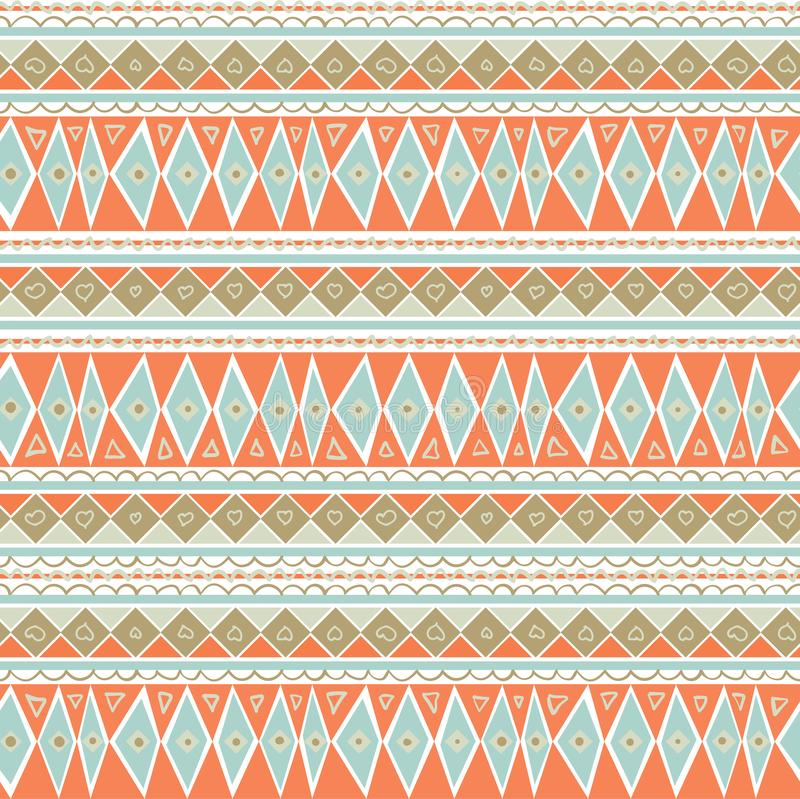 Pastel Mint and Coral Geometric Seamless Pattern. Soft Color Background. Peach blue geometric pattern with hand-drawn elements. vector illustration
