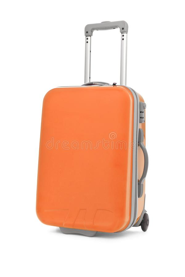 Pastel orange Suitcase on white background.  royalty free stock photography
