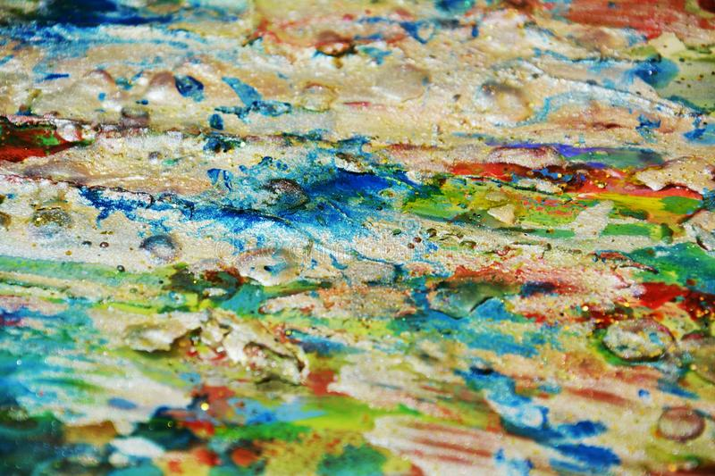 Silver blue green red mud blurred background, sparkling muddy waxy paint, contrast shapes background in pastel hues royalty free stock photos