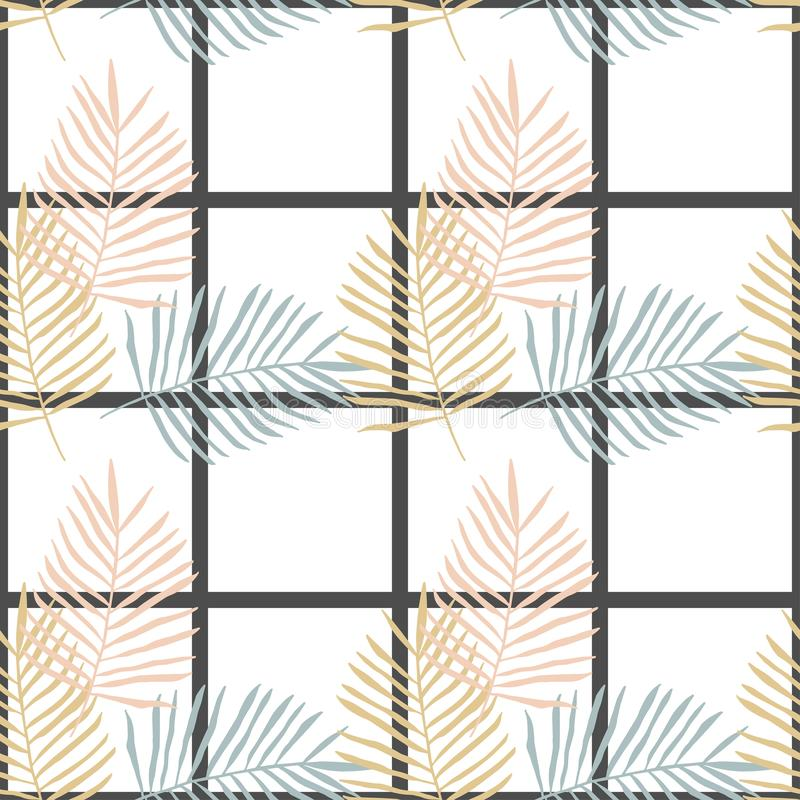 Pastel palm branches on checkered white background, seamless vector pattern vector illustration