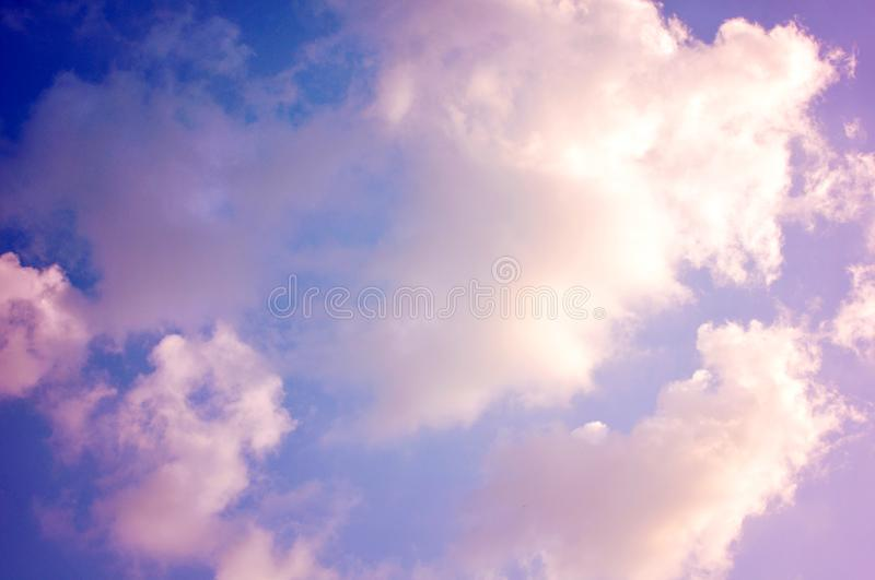 Pastel pink clouds, colorful cloudscape royalty free stock photo