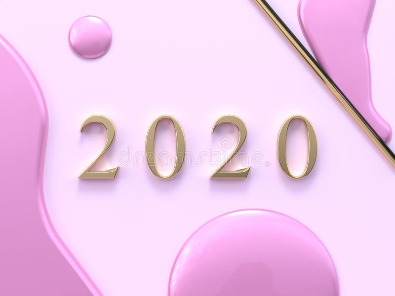 Pastel pink flat lay minimal scene gold 2020 number text/type 3d rendering vector illustration