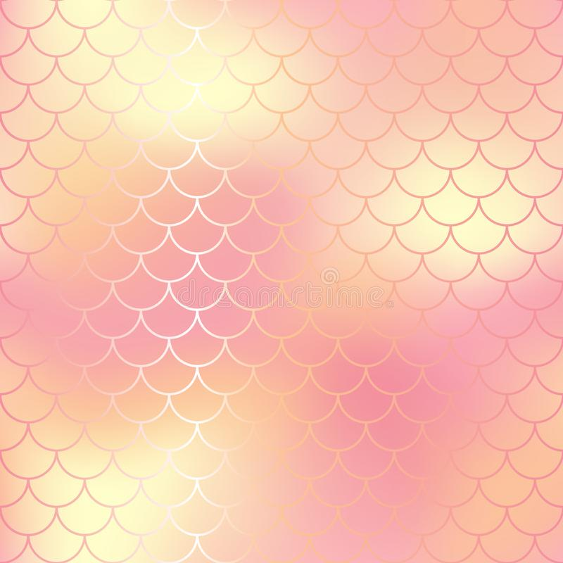 Pastel pink and gold abstract fish skin background. Fantastic fish scale pattern. stock illustration
