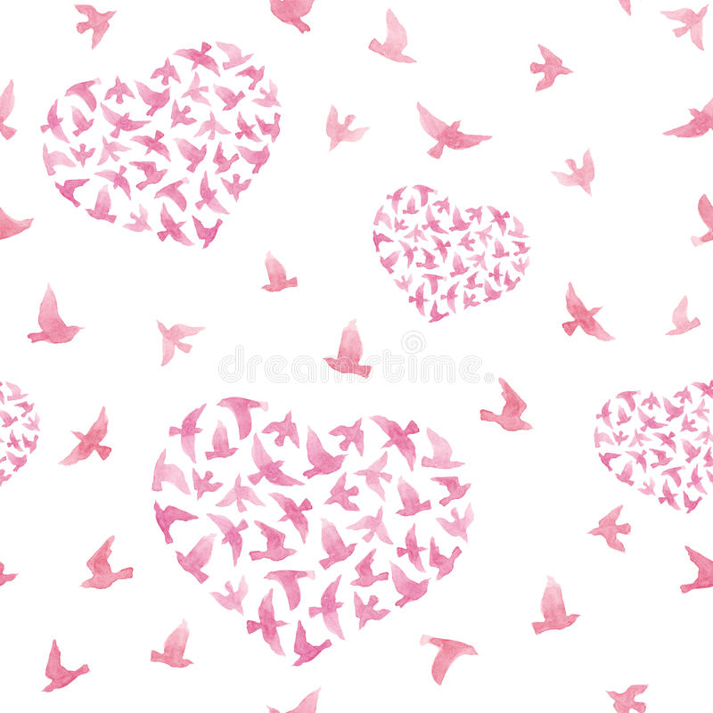 Pastel pink hearts with flying birds. Repeated pattern. Watercolor vector illustration