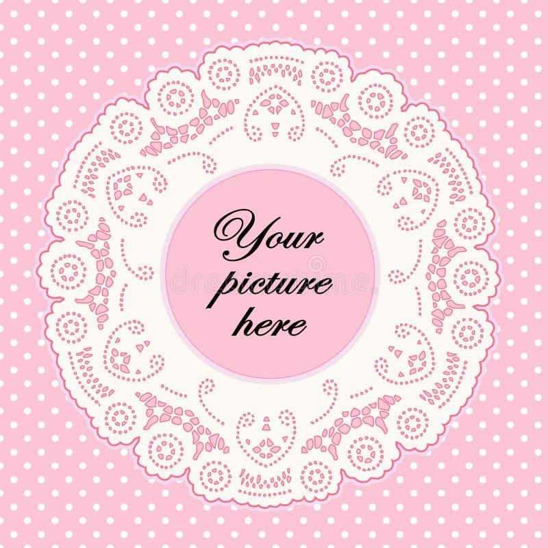 Lace Doily Frame, Pastel Pink Polka Dot Background stock illustration