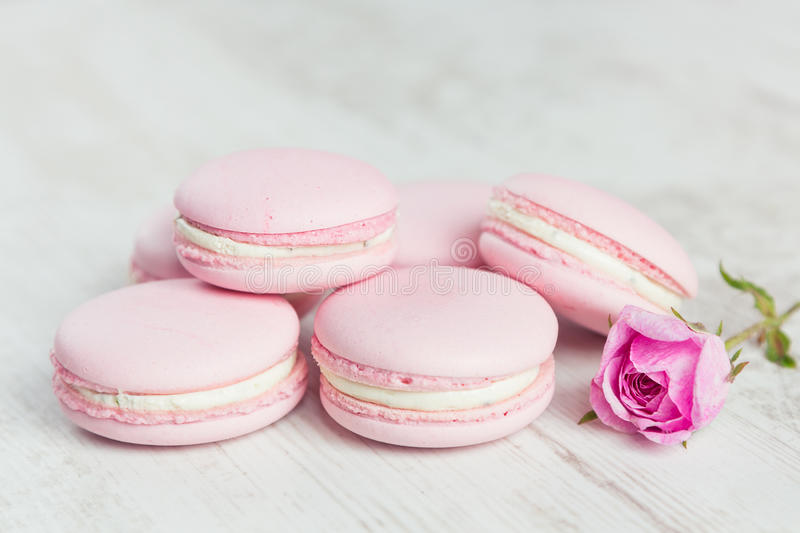 pastel pink macaroons with rose stock photo image of gentle colored 47638156. Black Bedroom Furniture Sets. Home Design Ideas