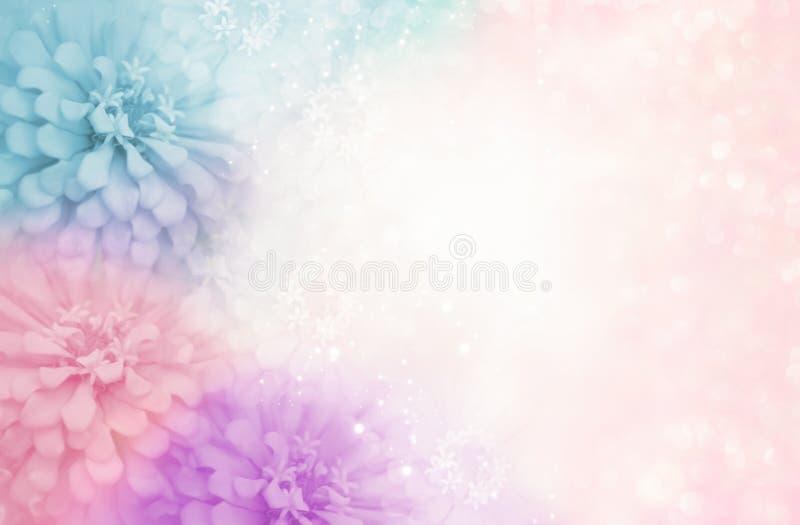 Pastel pink purple blue flower frame on soft bokeh vintage background stock image