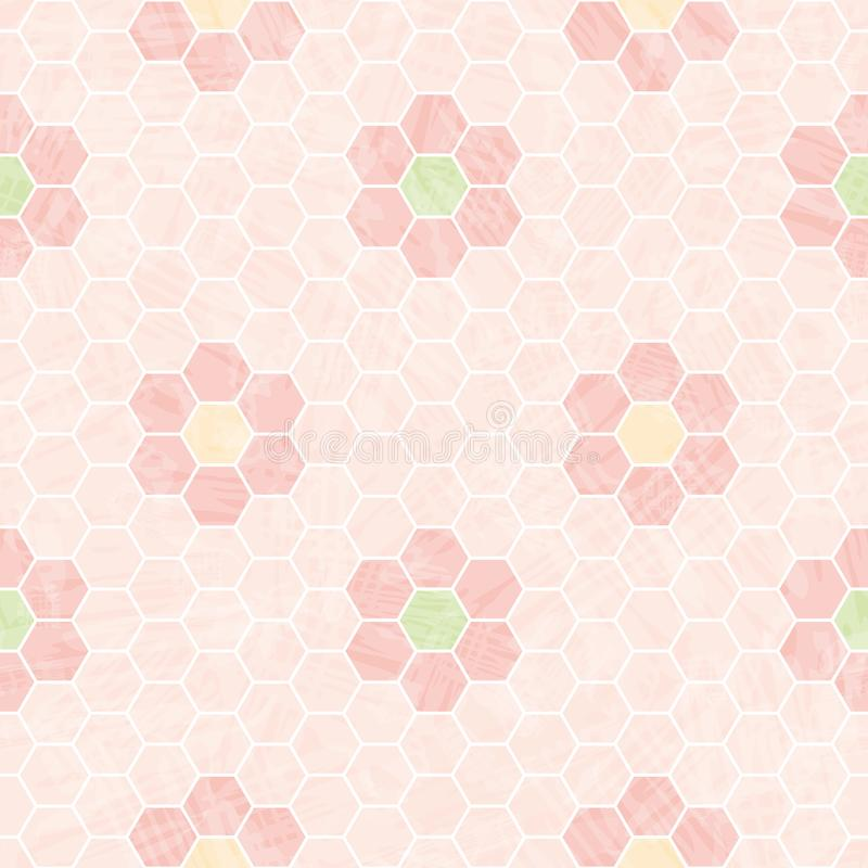 Pastel pink and white honeycomb design with mosaic flowers. Seamless vector pattern with transparent watercolor effect. Texture. Great for wellness, cosmetic royalty free illustration