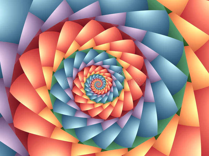 Pastel Psychedelic Rainbow Spiral Background. Texture stock illustration