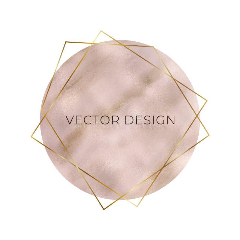 Pastel róży złocista folia z geometrycznymi złotymi linii ramami Fasonuje projekt dla sztandaru, logo, karta, ślubny zaproszenie, royalty ilustracja