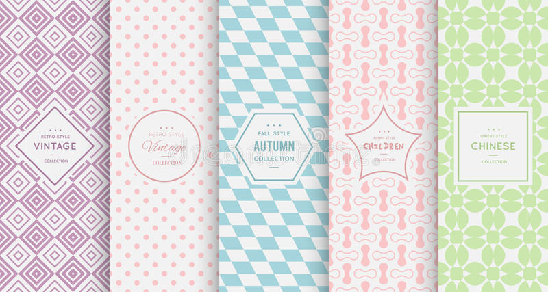 Pastel retro different vector seamless patterns stock illustration