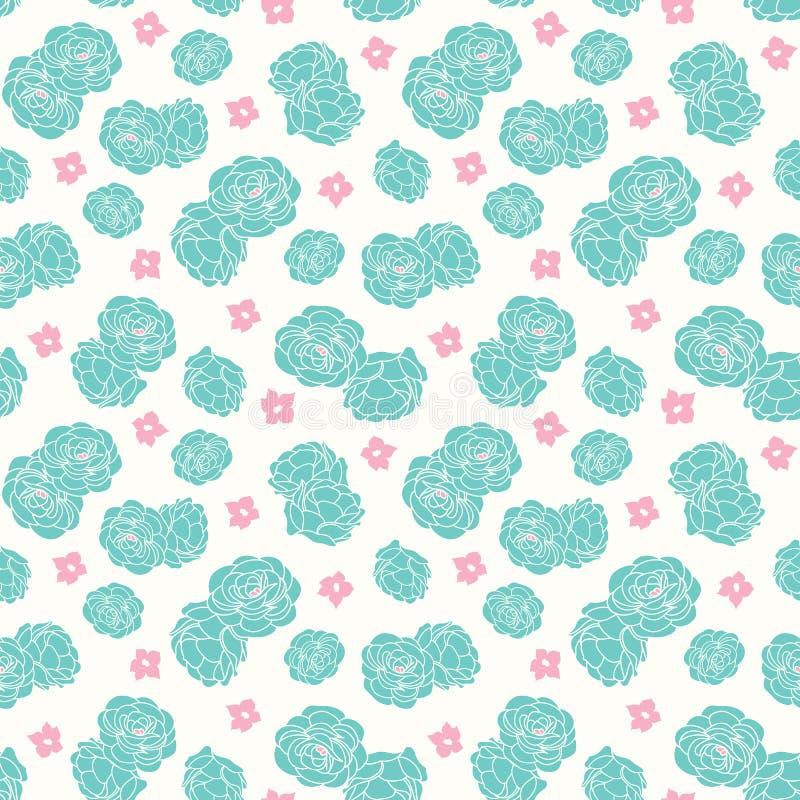 Pastel rose garden ditsy floral seamless vector repeat pattern vector illustration