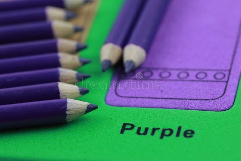 pastel roxo do lápis da fileira fotografia de stock