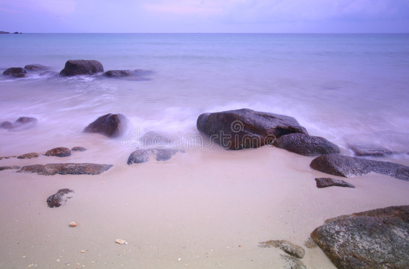 Pastel sea scape at dawn royalty free stock photos