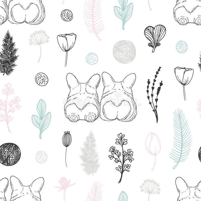 Pastel seamless pattern with hand drawn dogs and flowers. Cute doodle background vector illustration