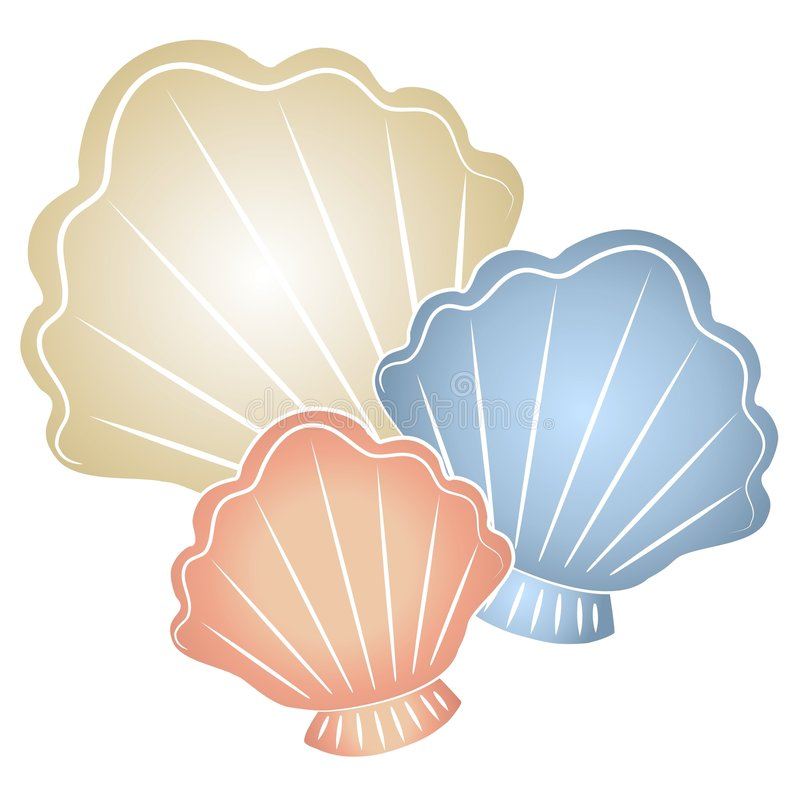 Pastel Seashells Clip Art. A clip art illustration of pastel colored seashells in light tan, blue and peach / pink colors royalty free illustration