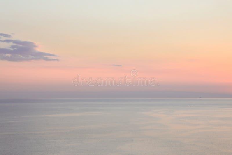 Pastel shades sunset background near Kythnos island, Cyclades, Greece. Travel destinations September 2018. Horizontal royalty free stock photo