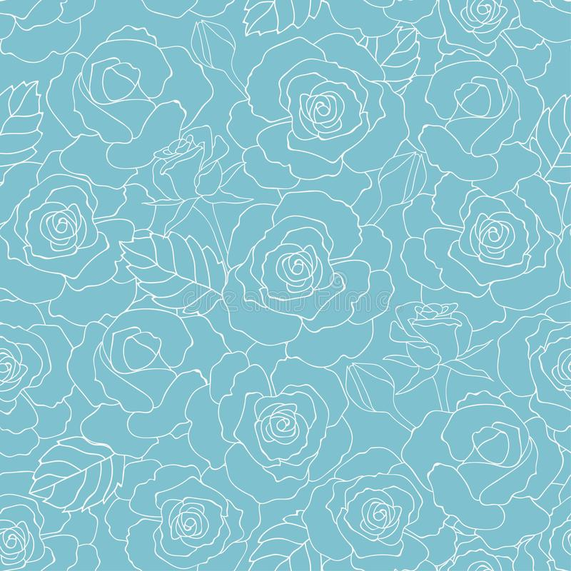 Pastel summer roses garden seamless pattern on soft blue background for fashion,fabric,textile,print or wallpaper. Vector illustration vector illustration