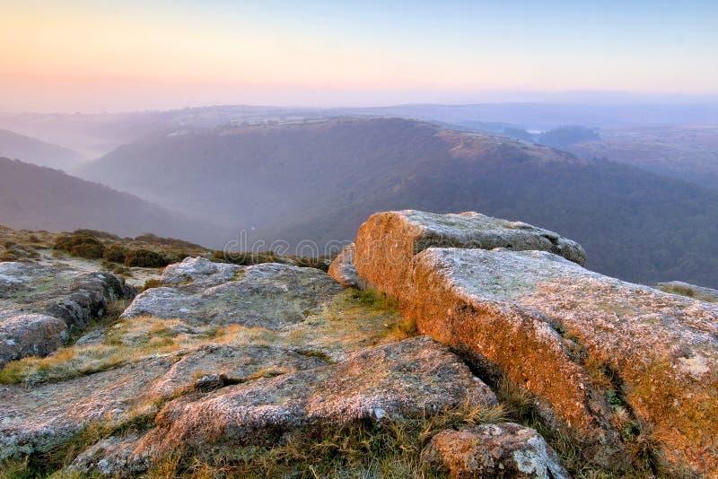 Pastel sunrise on dartmoor stock photos