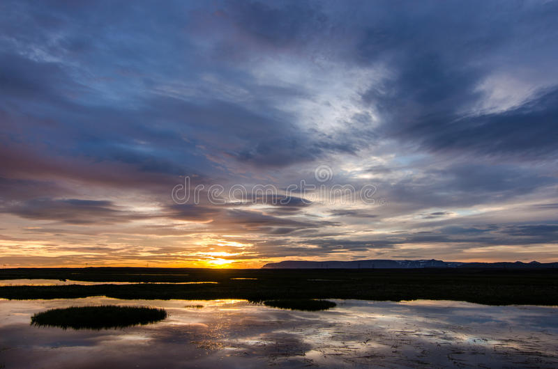 Pastel sunset in Iceland royalty free stock photo