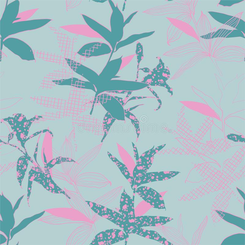 Pastel sweet mood of silhouete botanical plants fill in with line hand drawn pattern seamless in vector design for fashion,fabric,. Web,wallpaper and all prints stock illustration