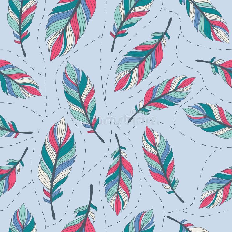 Pastel upierza bezszwowego tło 5 ilustracji