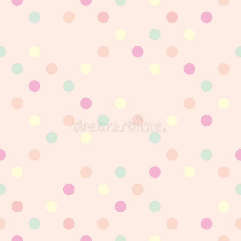 Pastel vector polka dots on pink background - seamless pattern stock illustration