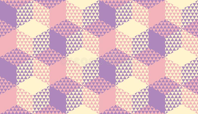 Pastel violet and ivory seamless pattern. Pastel violet and ivory yellow geometric textured seamless pattern for background, wrapping paper, fabric, surface royalty free illustration