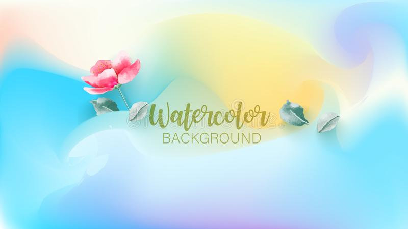 Pastel watercolor backdrop with tropical plant.  Summer background. Watercolor brush strokes. Creative illustration. Artistic stock illustration