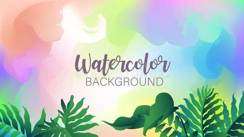 Pastel watercolor backdrop with tropical plant.  Summer background. Watercolor brush strokes. Creative illustration. Artistic. Color palette. Vector stock illustration
