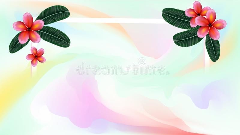 Pastel watercolor backdrop with tropical plant.  Summer background. Watercolor brush strokes. Creative illustration. Artistic. Color palette. Vector vector illustration