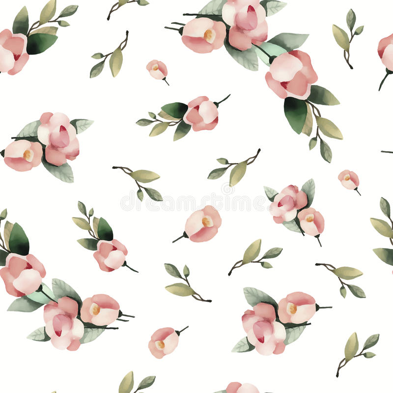 Pastel watercolor hand drawn paint pink flower seamless pattern. vector illustration